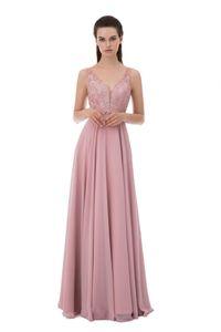 New Blush Pink Prom Dresses V Neck Sleeveless A Line Appliques Lace Beaded Chiffon Long Formal Evening Party Dress vestidos de baile