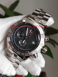 뜨거운 판매 고품질의 고급 시계 46mm Avenger II A1338111 스테인레스 스틸 CaseBlack 다이얼 VK 쿼츠 크로노 그래프 남성 시계