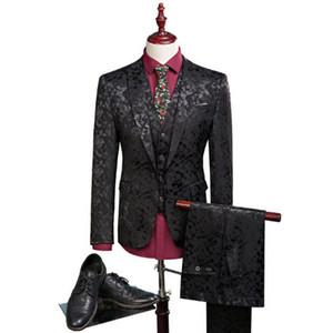Groom Tuxedos Groomsmen Mens Suits Wedding Party Tuxedos   Man's Pure Color Business Suit Jacket Blazers coat + vest +pants