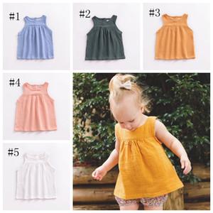 INS ragazze dei vestiti Cotone Lino neonate Gilet solida del bambino di colore top senza maniche per bambini Outfits traspiranti scherza i vestiti 5 colori DSL-YW3067