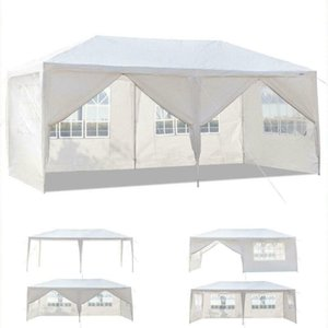 10'x20' White Outdoor Gazebo Canopy Wedding Party Tenda 6 Muri Finestra rimovibili