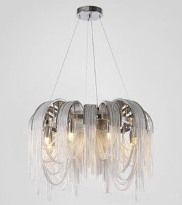 Moderno Simple Chrome Alluminium Cadena Lámpara Colgante Nordic Luz Colgante Para la Sala de estar Restaurante Dormitorio Comedor LLFA