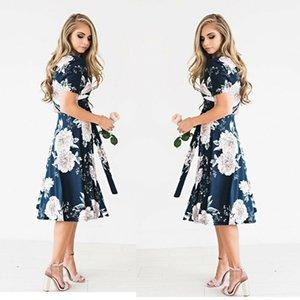 2020 New Fashion Womens Floral Long Maxi Dress Short Sleeve Evening Party Summer Beach Sundress