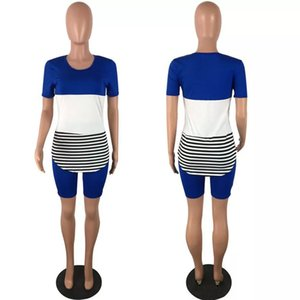 Plus Size Striped Two Piece Set Tracksuit Women Summer Outfits Top Biker Shorts Sweat Suits Lounge Wear Matching Sets