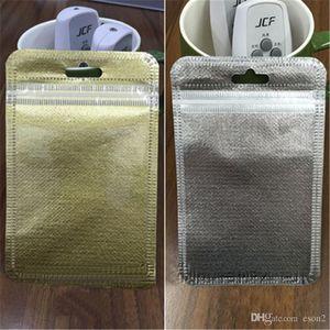 Não-tecidos Resealable Zipper plástico Retail caixa do pacote de embalagem Bag fosco prata dourado Opp Embalagem para USB caso de telefone cabo