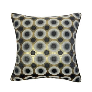 Luxury Geometric Black Circle Jacquard Woven Brown Pipping 45 x 45cm Pillow Case Home Decorative Armchair Sofa Cushion Cover