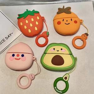 لairpods أبل برو 3 غطاء 2 1 لطيف الرسوم المتحركة 3D الخوخ فاكهة الفراولة وقائية للairpods الشحن مربع TWS حقيبة سماعة