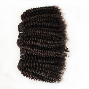 привлекательный афро вьющиеся 4C волосы естественный цвет 8-22 дюймов 10 шт. бразильский Виргинский человеческих волос перуанский малайзийский Индийский Реми волос Weave