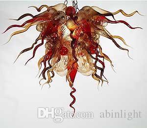 Bombilla por encargo moderna fuente de luz LED Blown Glass Art iluminación de la lámpara de techo de estilo soplado de Murano lámpara de cristal pendientes de