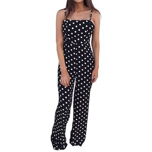 Summer Women Sleeveless Polka Dot Printed Jumpsuit Fashion Ladies Clubwear Playsuit Bodycon Party Jumpsuit Romper Long Trousers
