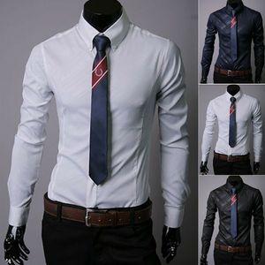 Männer stilvolles beiläufiges Kleid Hemd Slim Fit Langarm-Formal T-Shirt Top New