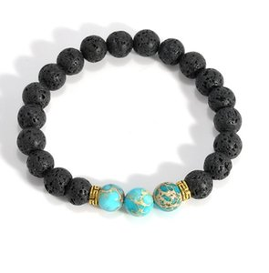 Gros- 2017 Hot pierre de lave perles Bracelets hommes Bracelets main en pierre naturelle pour les femmes des hommes de Pulseiras Bijoux
