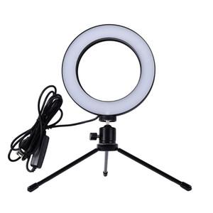 2018 Novo Mini Photo Studio LED Anel Da Câmera de Luz Dimmable Phtography Lâmpada de Vídeo Do Telefone Com Tripé Selfie Vara para Maquiagem Ao Vivo Iluminação