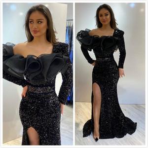 2020 Árabe ASO EBI Negro Shelly Sexy Vestidos de noche Sirena Mangas largas Vestidos de prom Partido Lentejuelas Formal Segundo Recepción Vestidos ZJ223