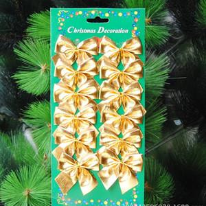 12PCS Mini Gift Box Drum Bow tie Christmas Tree Pendant Home Decor New Year Hanging Gift Ornaments Xmas Decoration