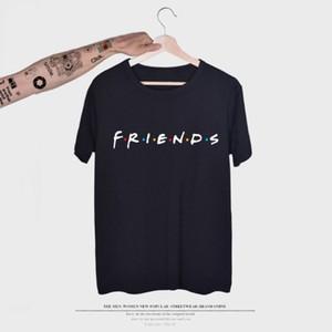 Estate Mens Tshirt Lettera Amici Stampa Maschio allentato casuale manica corta girocollo maglietta Multi Colori asiatico formato S-3XL
