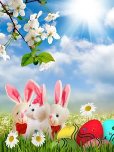 Ostern Frühling Sunny Vinyl Fotografie Backdrops Spielzeug-Häschen und Ostereier Photo Booth Hintergründe für Kinder Geburtstag Studio Props