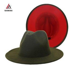 New Outer Army Green Inner Red Patchwork Wool Blend Vintage Men Women Fedora Hats Trilby Floppy Jazz Belt Buckle Felt Sun Hat