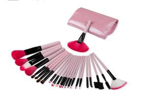 Güzellik Araçları 24 adet yüksek kalite makyaj fırçalar set vakfı ahşap saplı göz fırça seti fırça çantası