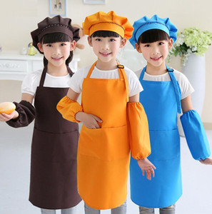 Hot Kids Aprons Pocket Craft Cocina Hornear Arte Pintura Kids Kitchen Dining Bib Niños Delantales Kids Delantales 1set = Delantal + sombrero + manga
