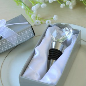 10 unids corazón de cristal botella de vino tapón de la botella de cromo favor del partido de regalo de boda favorece 2 estilo para elegir