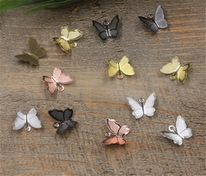 BASEHOME 100pcs / lot 11x13mm Charms mariposa plata / oro Animal Color de joyas en forma de bricolaje collar hecho a mano