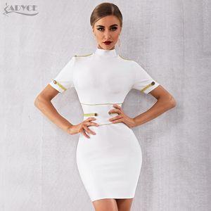 Adyce 2020 New Summer Blanc Robe Bandage femme élégante célébrité soirée robe de soirée Robe sexy à manches courtes Night Club Robe MX200319