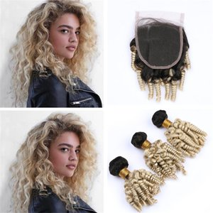 Ombre 1B / 613 Blonde Tante Funmi Curly Lace Closure mit Haarbündel Schwarze und blonde Bouncy Spiral Curly Human Hair Weave with Closure