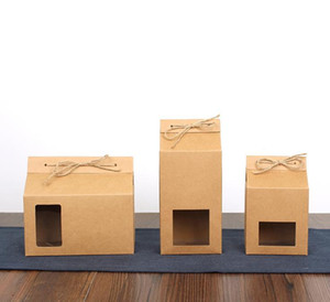 Té de embalaje de cartón bolsa de papel de Kraft, cuadro de la ventana clara Para galleta de la torta de almacenamiento de alimentos de pie encima del papel de embalaje bolsa XD23416