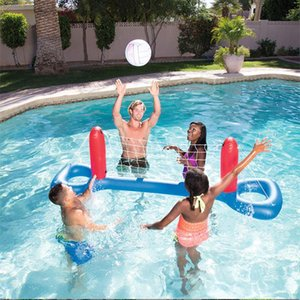 Inflatable Beach Floating Hoops Kids Adults Swimming Pool Ball Games Volleyball Basketball Water Sports Kit Outdoor Toys