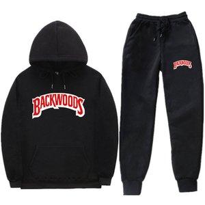 Vendita caldi Trendy lettere Backwoods stampato con cappuccio Suit uomini e donne Sport Set con cappuccio Pantaloni felpa