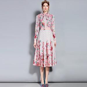 2019 inverno autunno natale runway designer stampa floreale abito lungo donna vintage manica lunga tunica signore chic abiti da festa abbigliamento
