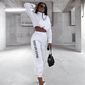 Womens White Set Casual Apparel with Zip Neck Spring Womens Designer 2pcs Pants Fashion