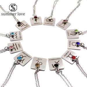 Acier inoxydable 12 constellation Pendent Collier plaqué argent cristal coloré ronde Fashion Costume Accessoires de bijoux pour les femmes -Y