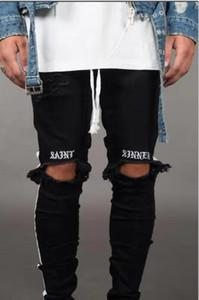 Lettre Imprimer Nouveau Hommes Jean Pantalones Rue Noir Trous Designer Blanc Rayures Jeans Hiphop Planche À Roulettes Crayon Pantalon