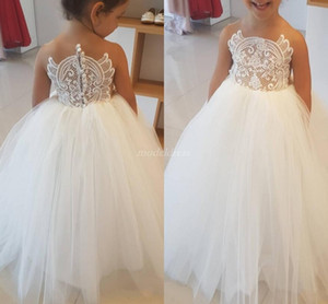 Puffy Ivory Ball Gown Flower Girl Dresses For Weddings 2019 Sheer Neck See Through Appliques Girls Pageant Dress First Holly Communion Dress