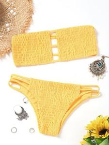 2019 Women Swimsear Ladder Cut Bandeau Smocked Bikini Set Swimwear Women Swimsuit Strapless Padded Solid Bathing Suit Beachwear