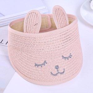 Foldable Beach Cap Cartoon Fashion Gift Travel Cute Sunshade Straw Empty Top Wide Brim Breathable Summer Kids Hat Rabbit Ear