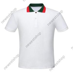 diseñador de ropa de lujo 2020 de verano de estilo clásico para hombre Polo rojo Geen cuello pachwork camiseta ocasional da vuelta-abajo cuello de la camisa camiseta camisetas