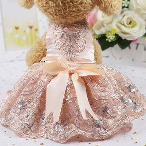 애완 동물 개 의류 여름 가을 럭셔리 우아한 공주 드레스 작은 개 강아지 샴페인 꽃 웨딩 파티 드레스 의류