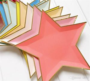 One Time bulaşığı Plaka Beş Sivri Yıldız Kağıt Tepsi Sıcak Yaldız Gümüş Doğum Günü Partisi Dekorasyon Yaratıcı 9 4AL C1 Malzemeleri