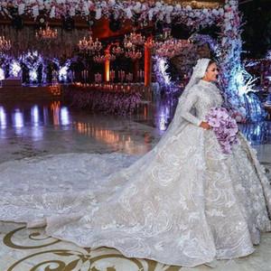 Vintage dentelle robe de bal de mariage Robes de mariée à col de luxe Cour Robes de train manches longues Perles Plus Size Wedding Dress personnalisée 81