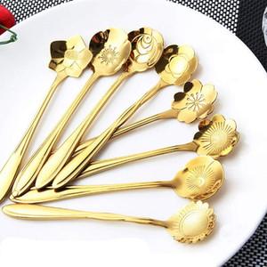 Blumen Design Gold Löffel Edelstahl Löffel Vintage Rose Gold Farbe Blumen Form Schaufel Dessert Tee Kaffee Rührlöffel