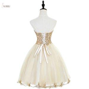 Tül Kısa Mezuniyet Elbiseleri 2019 Bir çizgi Champagne Mezuniyet Elbise Sevgiliye Boyun Boncuklu vestidos de Graduacion