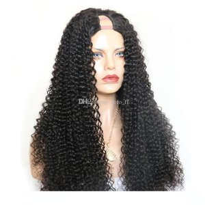Deep Curly U Part Wig Brazilian Remy Lace Human Hair Wigs For Women Natural Black Front 150% Density Full End