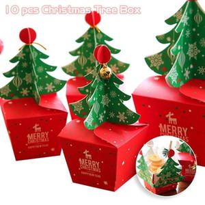 10 Pz / set Buon Natale Candy Box Bag 3D Albero di Natale Confezione regalo Con campane Scatola di carta Sacchetto regalo Forniture Navidad S4 C18112701