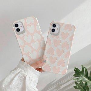 Casos de telefone 3D Coração Amor alívio para iphone XR X XS Max 7 8plus Matte ponto onda de couro iPhone tampa traseira para 11 Pro Max