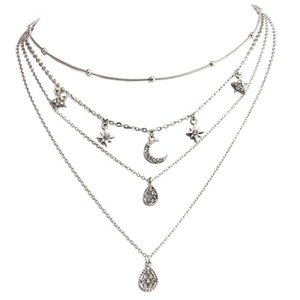 Silver Color Fashion New Arrival Full Moon Pentacle Drop Pendant Women's Multi - Layer Necklace Jewelry Accessories