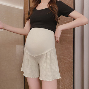 711# Summer Thin Knitted Cotton Maternity Shorts Wide Leg Loose Belly Shorts for Pregnant Women Pregnancy Sleep Lounge Wear