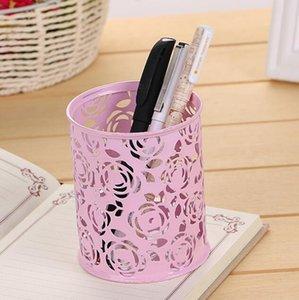Creux cylindre métallique Floral Crayon porte-stylo crayon Manique pinceau de maquillage de stockage Vintage nl femmes Support de maquillage 9,6 * 8cm